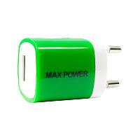 Адаптер сетевой универсальный 1хUSB 1A MaxPower One Green (00000033831)