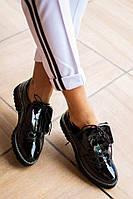 Женские лаковые черные туфли оксфорды В20843