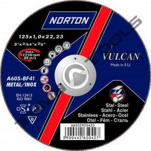 Круг отрезной по металлу Norton Vulcan 125 x 1.6 x 22.23