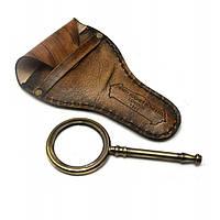 Лупа 13,5*6 см с деревянной ручкой в кожаном чехле