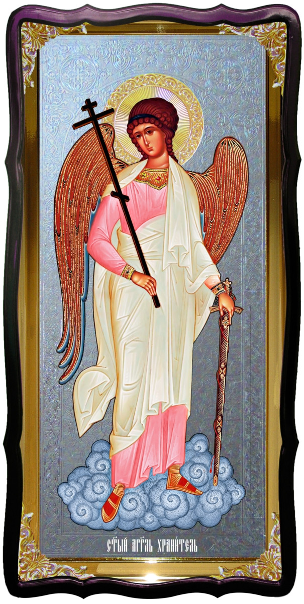 Икона Ангела Хранителя для храма фон серебро
