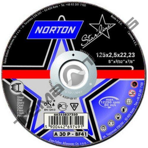 Круги отрезные по металлу Norton STARLINE 125 x 1.6 x 22.23