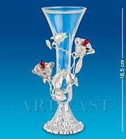 """Ваза для цветов""""Розы"""" 18,5 см., посеребр. с цвет. крист. Crystal Temptations, США"""