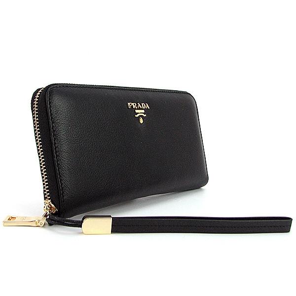 43641186bbd4 Кожаный кошелек Prada женский черный класический на молнии: продажа ...