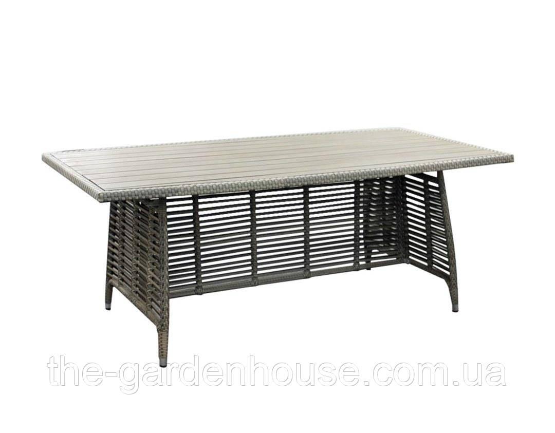 Обеденный стол из искусственного ротанга Zenica 200 см серый