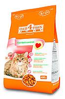 Сухой корм Клуб 4 Лапы для взрослых кошек мясные крокеты с эффектом выведения шерсти, 0,4кг