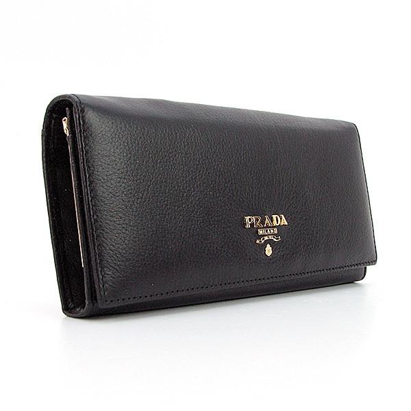 39953a2dc3b0 Кошелек женский Prada pd-514a кожаный черный на кнопке классической формы,  фото 1