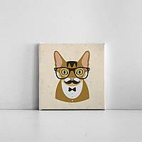 Детская картина на холсте Усатый кот хипстер 20х20 см