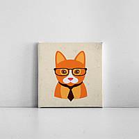 Детская картина на холсте Рыжая кошка хипстер 20х20 см
