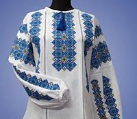 Женская блуза с голубой вышивкой на льне БП