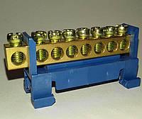 Шина нулевае с изолятором для крепления на Din-рейку 8 отверстий.