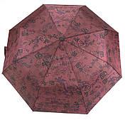 Женский симпатичный прочный зонтик полуавтомат art. 2001 бордовый/иероглифы (100219)