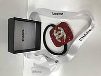 Резинка Chanel для волос черная с камнями