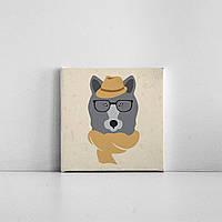 Детская картина на холсте Волчица в шляпе 20х20 см