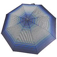 Женский симпатичный прочный зонтик полуавтомат art. 2013 синий/полосы (100211)