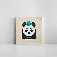 Детская картина на холсте Панда в шляпе 20х20 см