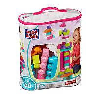 Классический конструктор для девочек розовый в мешке/сумке, Мега Блокс, Mega Bloks, мегаблокс (80 дет.) DCH62