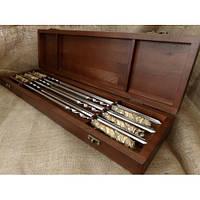 """Шампуры """"На привале"""" - набор шампуров с бронзовыми ручками в кейсе из натурального дерева"""