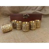 """Чарки из бронзы - набор """"Бочка"""" в деревянном кейсе, 6шт."""