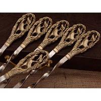 """Шампура с ручками из бронзы """"Соколы"""" в кейсе (набор шампуров  6шт)"""