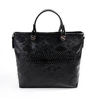 Женская сумка М61-14/801 среднего размера черная в коже питона с ремешком
