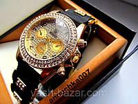 Супер стильные кварцевые женские часы Rolex со стразами на резиновом ремешке купить
