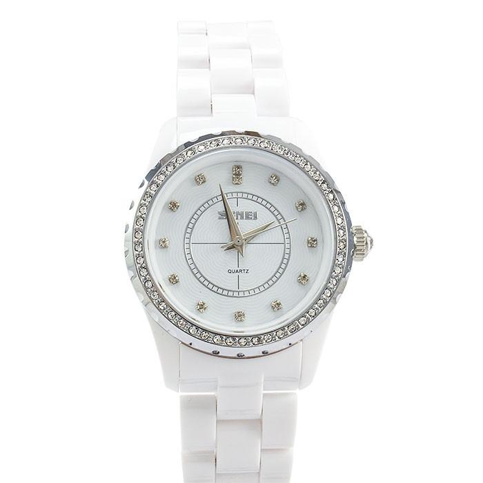 Часы с керамическим ремешком белые Skmei Арт. 1159WTB + Коробочка