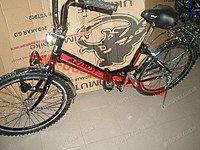 Городской велосипед черно-красный 24 дюйма Азимут с фарой