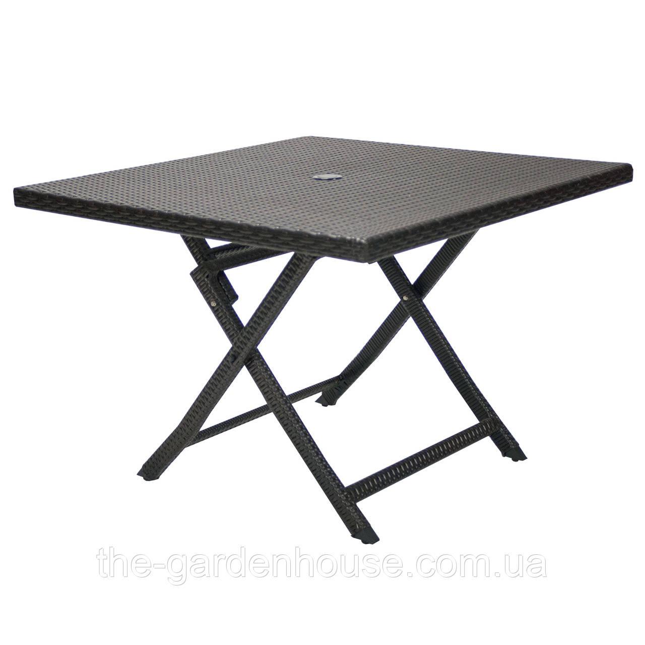 Складной обеденный стол из искусственного ротанга Stella 100х100 см темно-коричневый