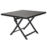 Складаний обідній стіл зі штучного ротанга Stella 100х100 см темно-коричневий