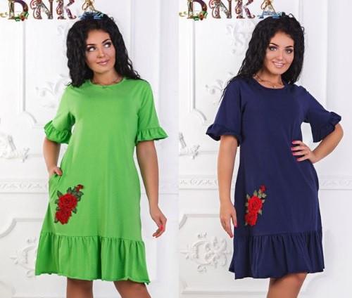 0869bf6f346 Женское платье с рюшами батал -