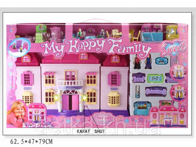 Кукольный дом 2009-04 с куклами,мебелью батар.муз.свет