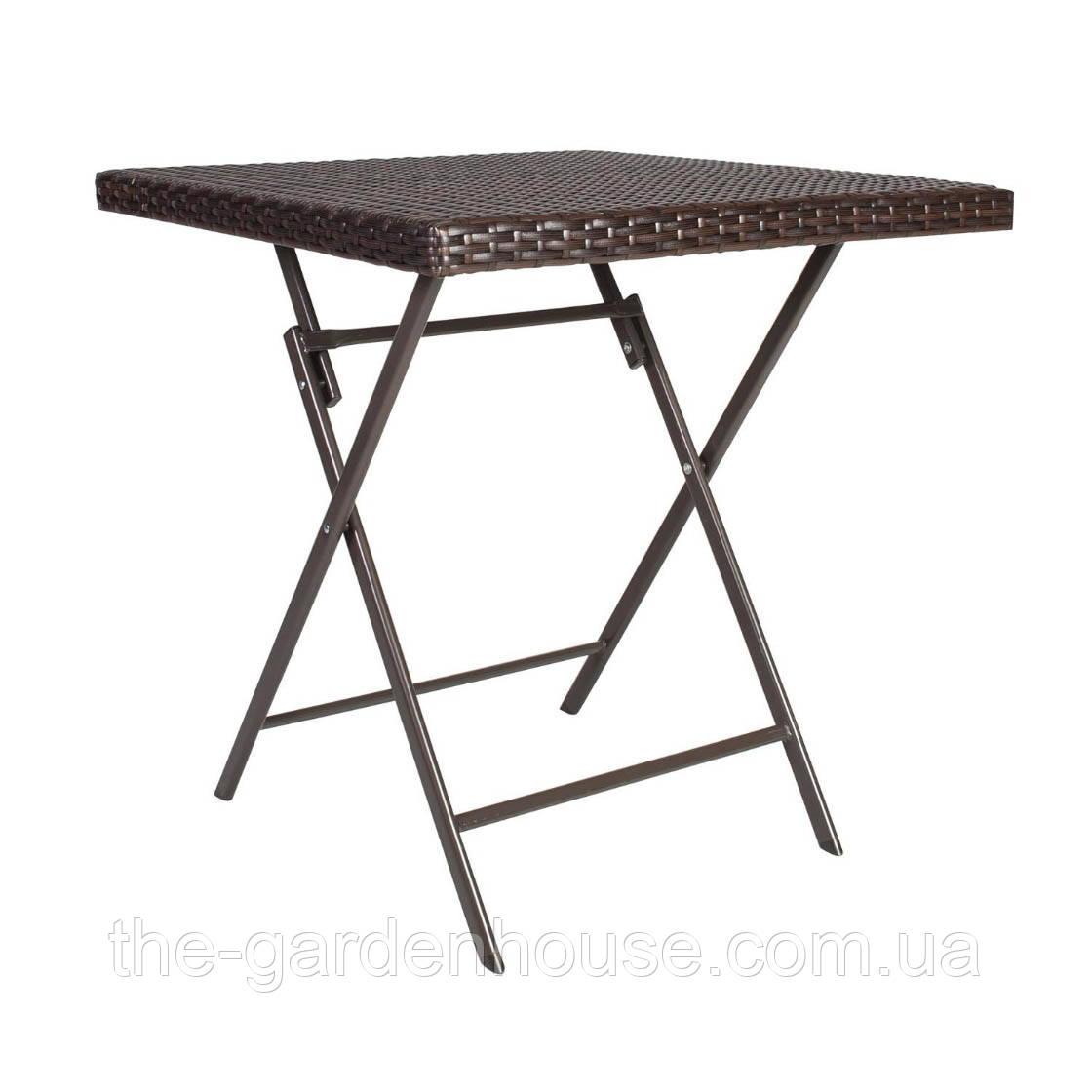Складной стол из искусственного ротанга Nico 70х70 см темно-коричневый