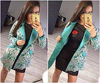 Стильный неопреновый пиджак кардиган с отложным воротом и красивым узором