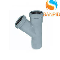 Тройник для внутренней канализации Wavin 50х50/45°