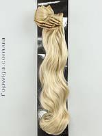 Матовые термо волосы с заколками клипсами Original, трессы 8 прядей, цвет 26 блондин с пшеничным