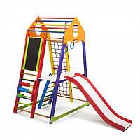 Детский спортивный комплекс BambinoWood Color Plus 3 с горкой, кольцами, рукоходом, мольбертом ТМ SportBaby Разноцветный
