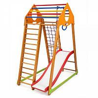 Детский спортивный комплекс BambinoWood Plus 1 с горкой, кольцами, рукоходом, сеткой ТМ SportBaby Разноцветный