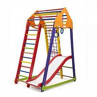 Детский спортивный комплекс BambinoWood Color Plus 1 с горкой, кольцами, рукоходом, сеткой ТМ SportBaby Разноцветный
