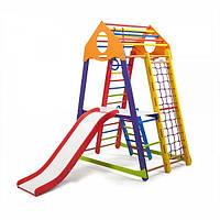 Детский спортивный комплекс BambinoWood Color Plus 2 с горкой, кольцами, рукоходом, лестницей ТМ SportBaby Разноцветный