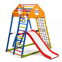 Детский спортивный комплекс KindWood Color Plus 2 с горкой, кольцами, столиком, лестницей ТМ SportBaby Разноцветный