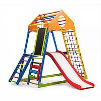 Детский спортивный комплекс KindWood Color Plus 3 с горкой, кольцами, мольбертом, лестницей ТМ SportBaby Разноцветный