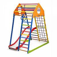 Детский спортивный комплекс KindWood Color Plus 1 с горкой, кольцами, рукоходом, сеткой ТМ SportBaby Разноцветный