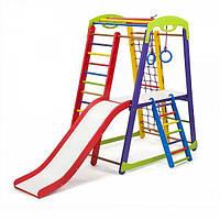 Детский спортивный уголок - «Кроха - 1 Plus 2» с горкой, кольцами, столиком, сеткой, лесенкой ТМ SportBaby Разноцветный