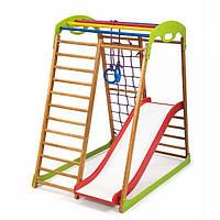 Детский спортивный комплекс для дома BabyWood Plus 1 с горкой, кольцами, рукоходом, сеткой ТМ SportBaby Разноцветный