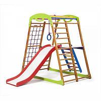 Детский спортивный комплекс для дома BabyWood Plus 2 с горкой, лестницей, рукоходом, сеткой ТМ SportBaby Разноцветный