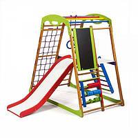 Детский спортивный комплекс для дома BabyWood Plus 3 с горкой, мольбертом, рукоходом, сеткой ТМ SportBaby Разноцветный