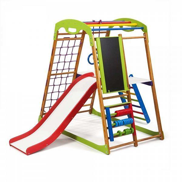 5b3d146d042d Детский спортивный комплекс для дома BabyWood Plus 3 с горкой, мольбертом,  рукоходом, сеткой