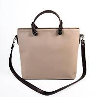 Бежевая сумка М61-66/40 матовая летняя модный стиль темно-коричневые вставки, фото 1