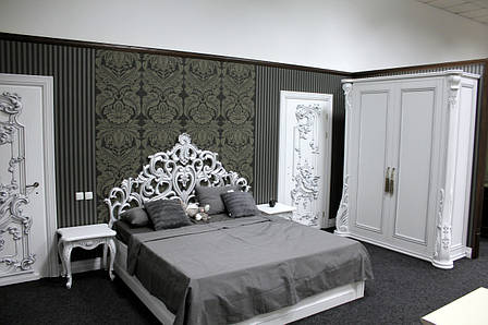 Деревянная белая кровать из натурального дерева, фото 2